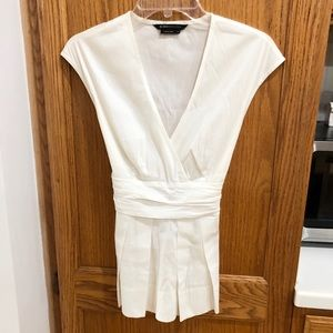 BCBG white blouse with tie